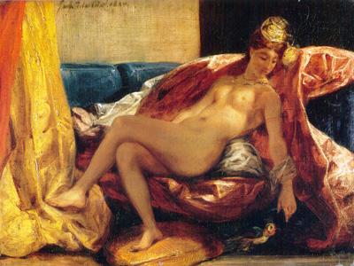 022 Eugene Delacroix Donna che carezza un pappagallo 1827 Parigi Louvre