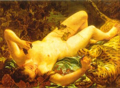 026 Louse Antoine Riesener La baccante Erigone gioca con la pantera 1855 Parigi Louvre