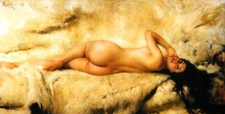 045 Giacomo Grosso Fanciulla nuda sdraiata 1896 Torino Galleria di arte moderna