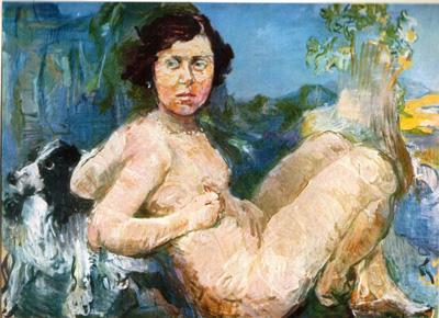 047 Oscar Kokoschka Nudo inclinato intorno 1900 Germania collezione Krefeld
