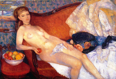 054 William Glackens Nudo con mele 1910 New York Brooklyn museum of art