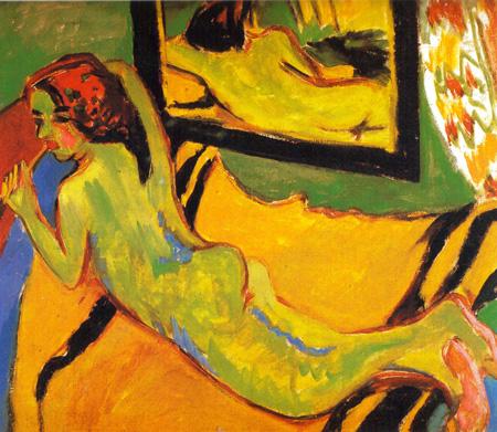 055 Ernst Ludwig Kirchner Nudo con specchio 1910 Berlino museo Brucke