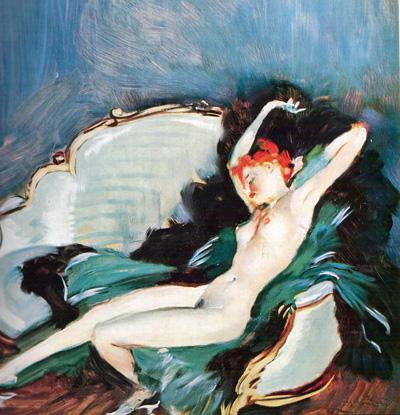 063 Jean Gabriel Domergue Donna sdraiata intorno 1920 Parigi collezione privata