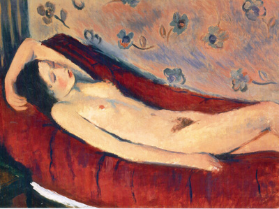 071 Francesco Menzio Reclining nude on a red background 1928 Torino Galleria Carlina
