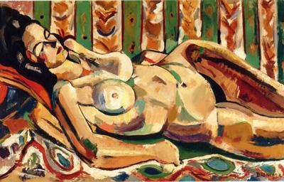 081 Francois Desnoyer Reclining nude  Bayonne 1940 circa museo Bonnar