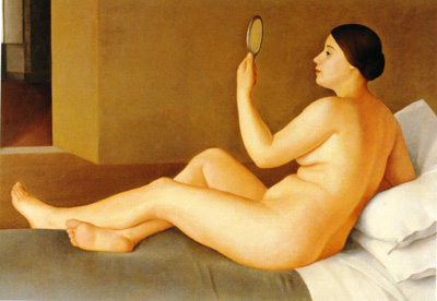 087 Antonio Donghi Nudo allo specchio1950 circa Italia collezione privata